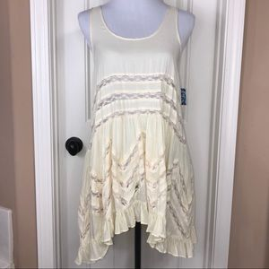 Free People Voile & Lace Trapeze Slip Yellow xs